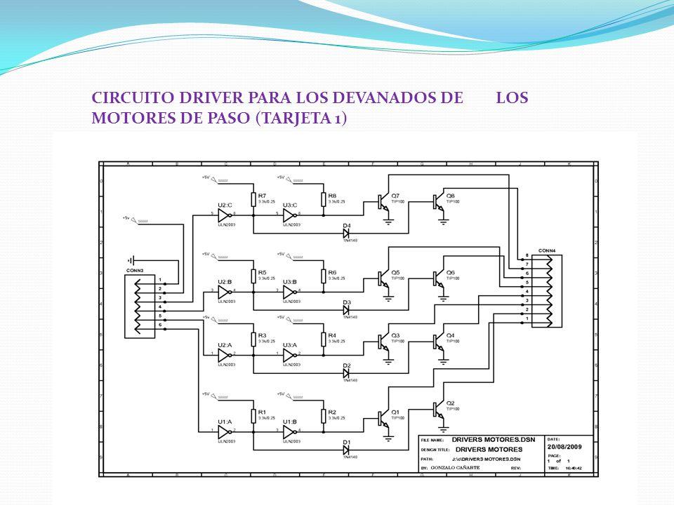 CIRCUITO DRIVER PARA LOS DEVANADOS DE LOS MOTORES DE PASO (TARJETA 1)