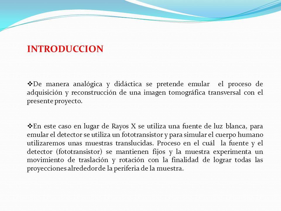 INTRODUCCION De manera analógica y didáctica se pretende emular el proceso de adquisición y reconstrucción de una imagen tomográfica transversal con el presente proyecto.