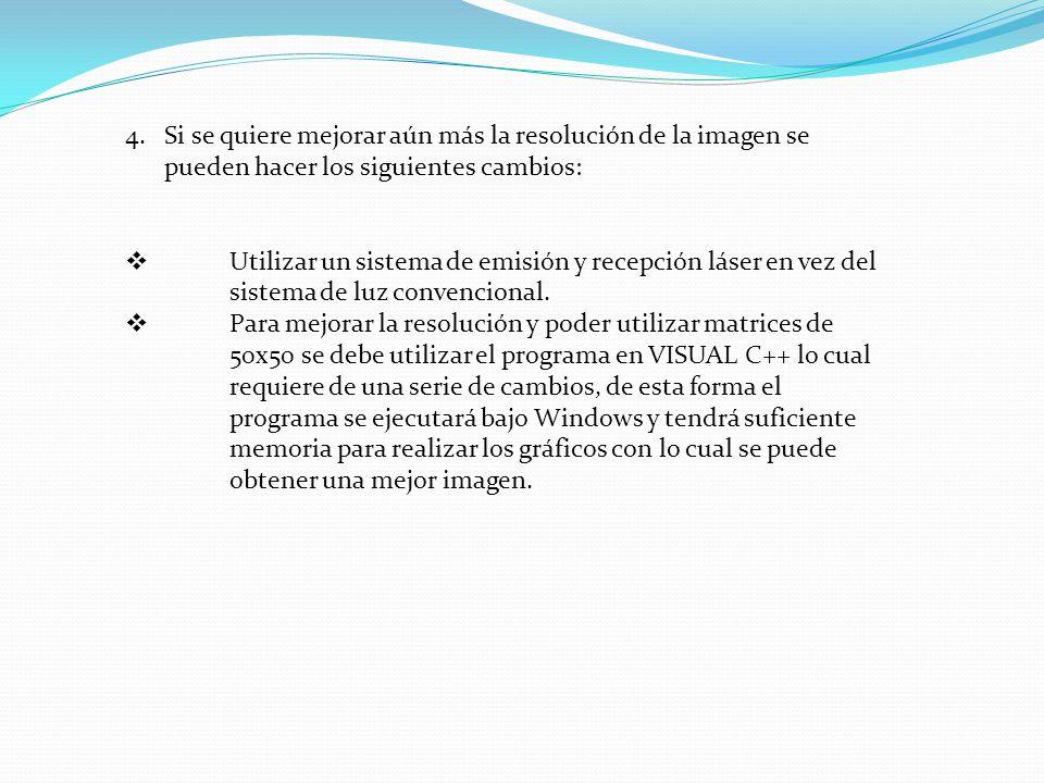 4.Si se quiere mejorar aún más la resolución de la imagen se pueden hacer los siguientes cambios: Utilizar un sistema de emisión y recepción láser en vez del sistema de luz convencional.