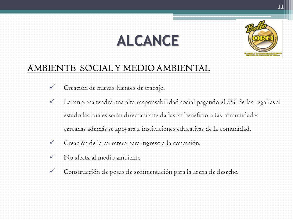 ALCANCE AMBIENTE SOCIAL Y MEDIO AMBIENTAL Creación de nuevas fuentes de trabajo. La empresa tendrá una alta responsabilidad social pagando el 5% de la