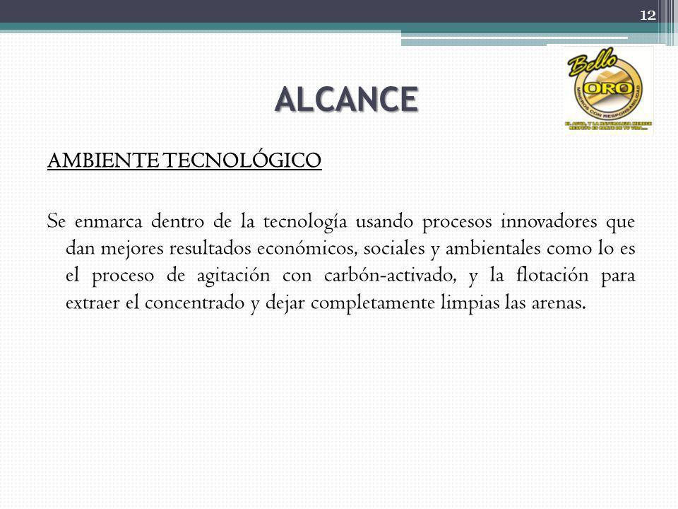 ALCANCE AMBIENTE TECNOLÓGICO Se enmarca dentro de la tecnología usando procesos innovadores que dan mejores resultados económicos, sociales y ambienta