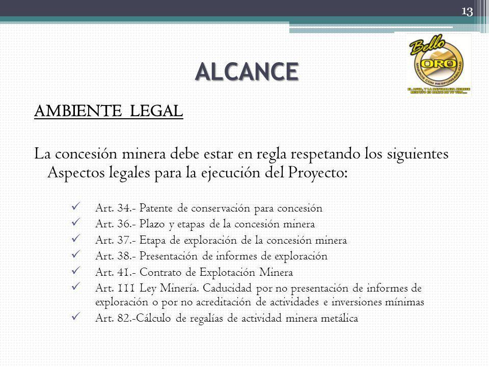 ALCANCE AMBIENTE LEGAL La concesión minera debe estar en regla respetando los siguientes Aspectos legales para la ejecución del Proyecto: Art. 34.- Pa
