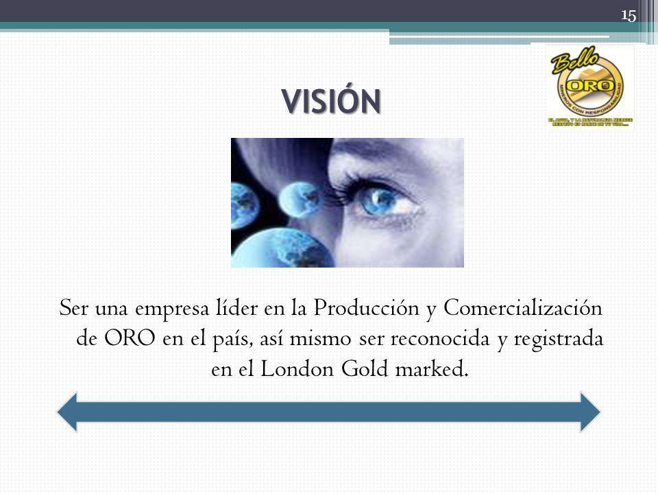 VISIÓN Ser una empresa líder en la Producción y Comercialización de ORO en el país, así mismo ser reconocida y registrada en el London Gold marked.