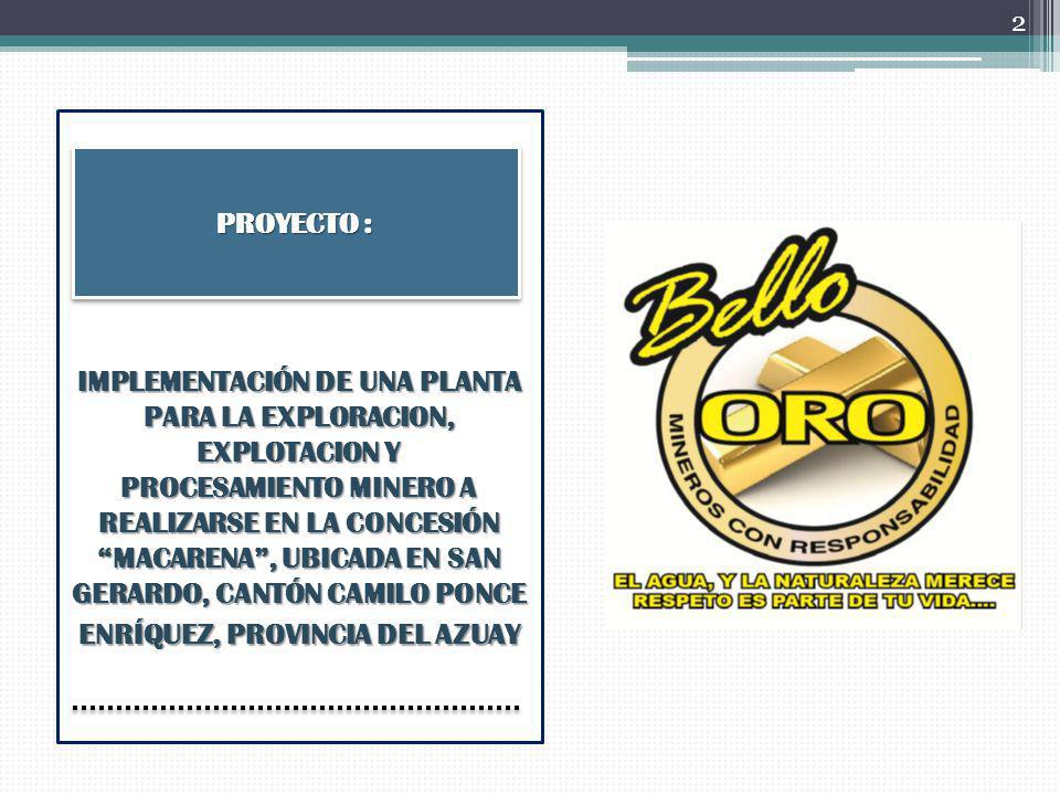 INTRODUCCIÓN El Cantón Camilo Ponce Enríquez se ha determinado como zona minera por los resultados de recientes estudios realizados; mismos que muestran gran cantidad de valores minerales entre ellos Oro y Plata, materiales de gran valor monetario usados para fines comerciales, de inversiones y para fabricación de joyas.