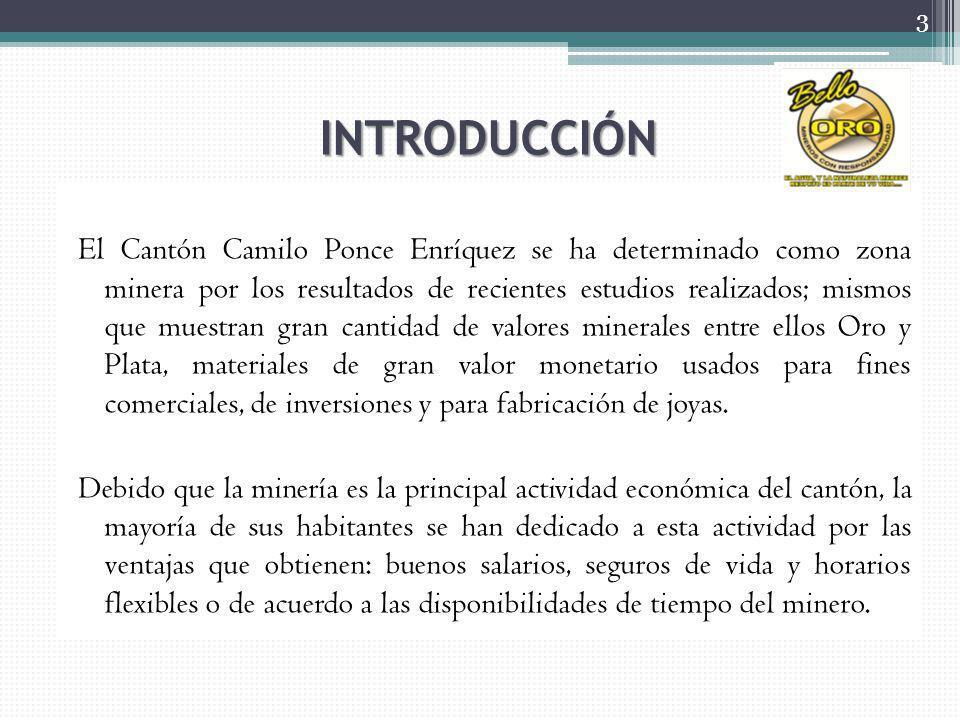 INTRODUCCIÓN El Cantón Camilo Ponce Enríquez se ha determinado como zona minera por los resultados de recientes estudios realizados; mismos que muestr