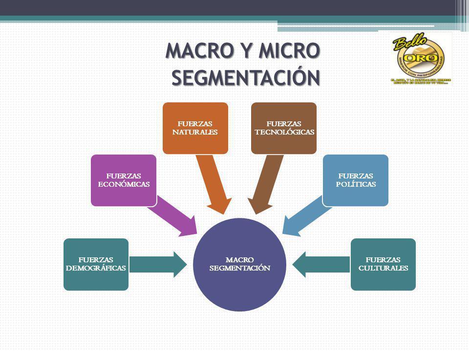 MACRO SEGMENTACIÓN FUERZAS DEMOGRÁFICAS FUERZAS ECONÓMICAS FUERZAS NATURALES FUERZAS TECNOLÓGICAS FUERZAS POLÍTICAS FUERZAS CULTURALES MACRO Y MICRO SEGMENTACIÓN SEGMENTACIÓN