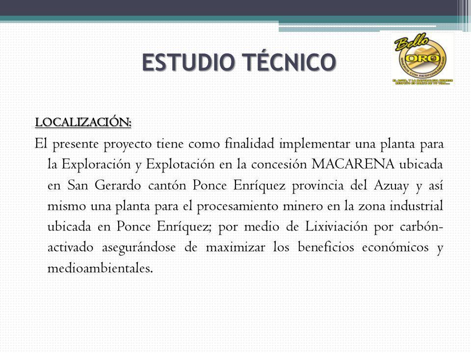 LOCALIZACIÓN: El presente proyecto tiene como finalidad implementar una planta para la Exploración y Explotación en la concesión MACARENA ubicada en S