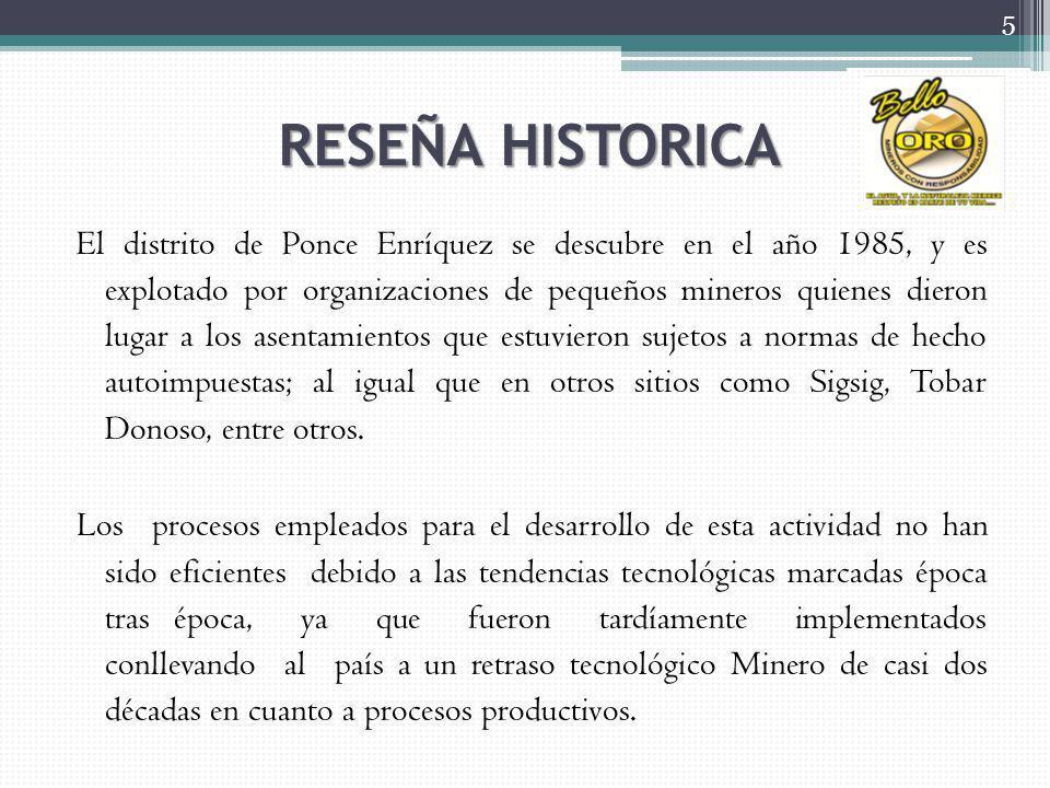 RESEÑA HISTORICA El distrito de Ponce Enríquez se descubre en el año 1985, y es explotado por organizaciones de pequeños mineros quienes dieron lugar a los asentamientos que estuvieron sujetos a normas de hecho autoimpuestas; al igual que en otros sitios como Sigsig, Tobar Donoso, entre otros.