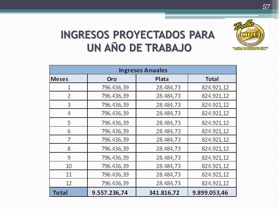 INGRESOS PROYECTADOS PARA UN AÑO DE TRABAJO 57