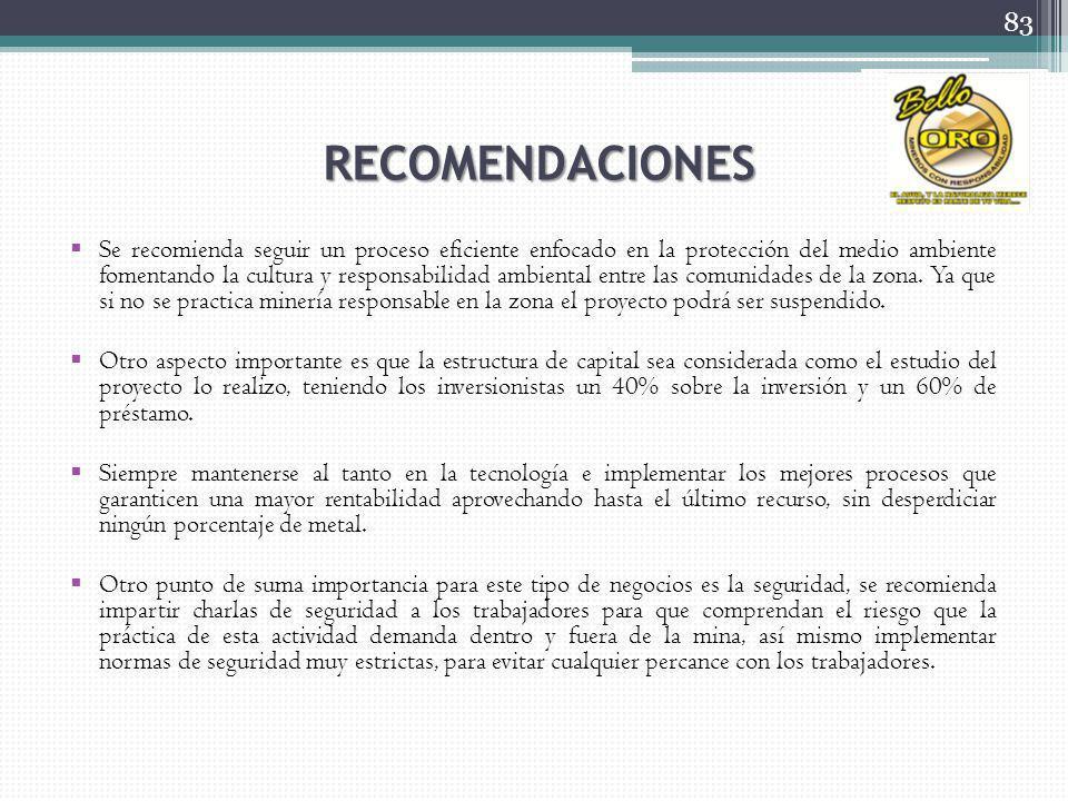 RECOMENDACIONES Se recomienda seguir un proceso eficiente enfocado en la protección del medio ambiente fomentando la cultura y responsabilidad ambient