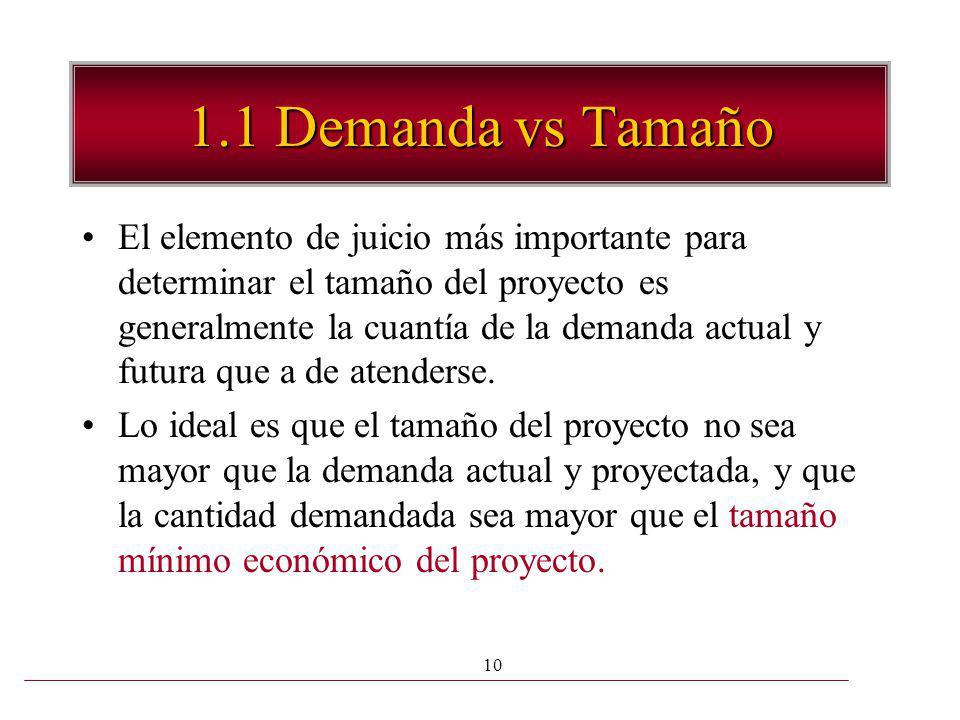 10 1.1 Demanda vs Tamaño El elemento de juicio más importante para determinar el tamaño del proyecto es generalmente la cuantía de la demanda actual y