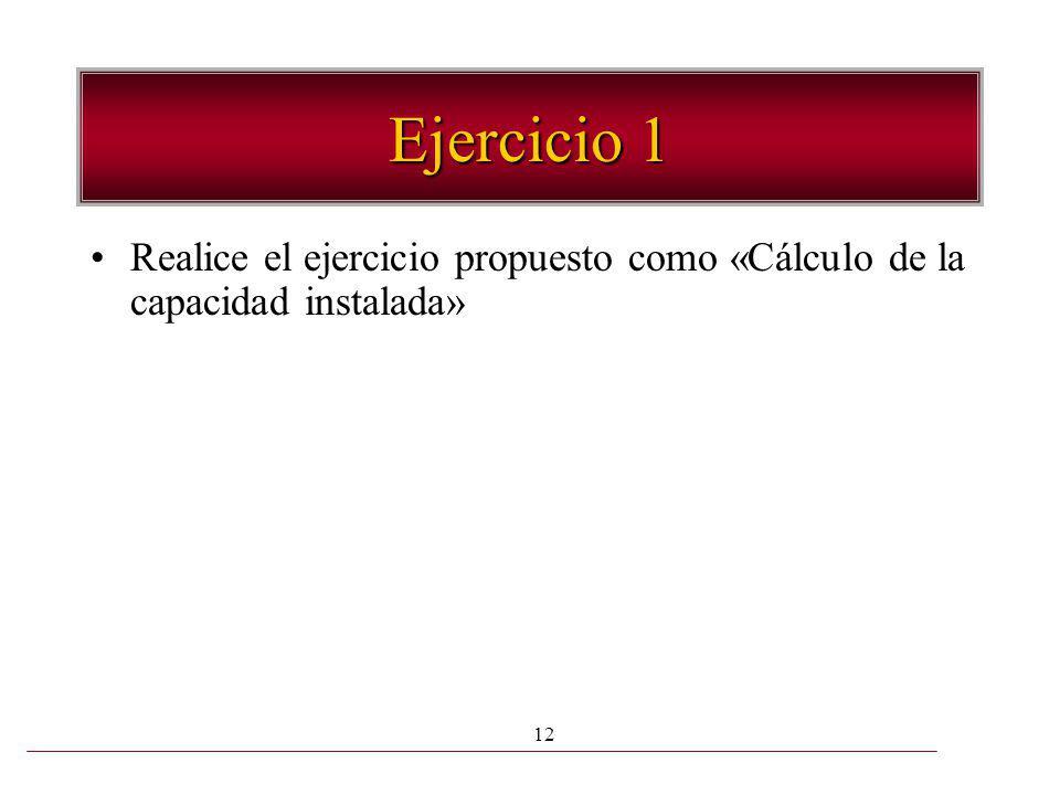 12 Ejercicio 1 Realice el ejercicio propuesto como «Cálculo de la capacidad instalada»