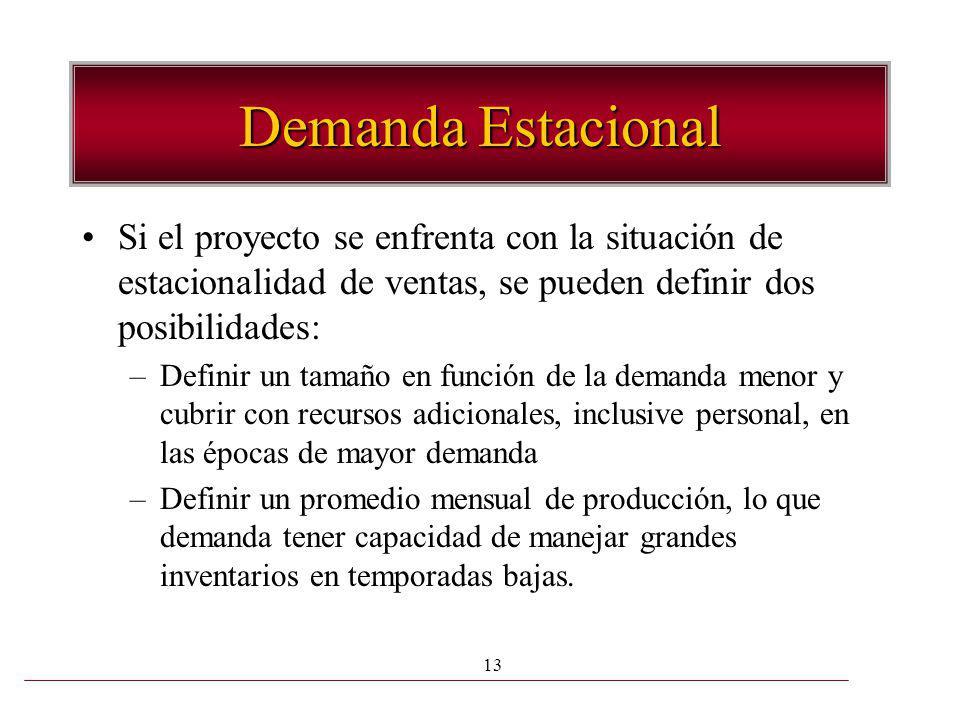 13 Demanda Estacional Si el proyecto se enfrenta con la situación de estacionalidad de ventas, se pueden definir dos posibilidades: –Definir un tamaño