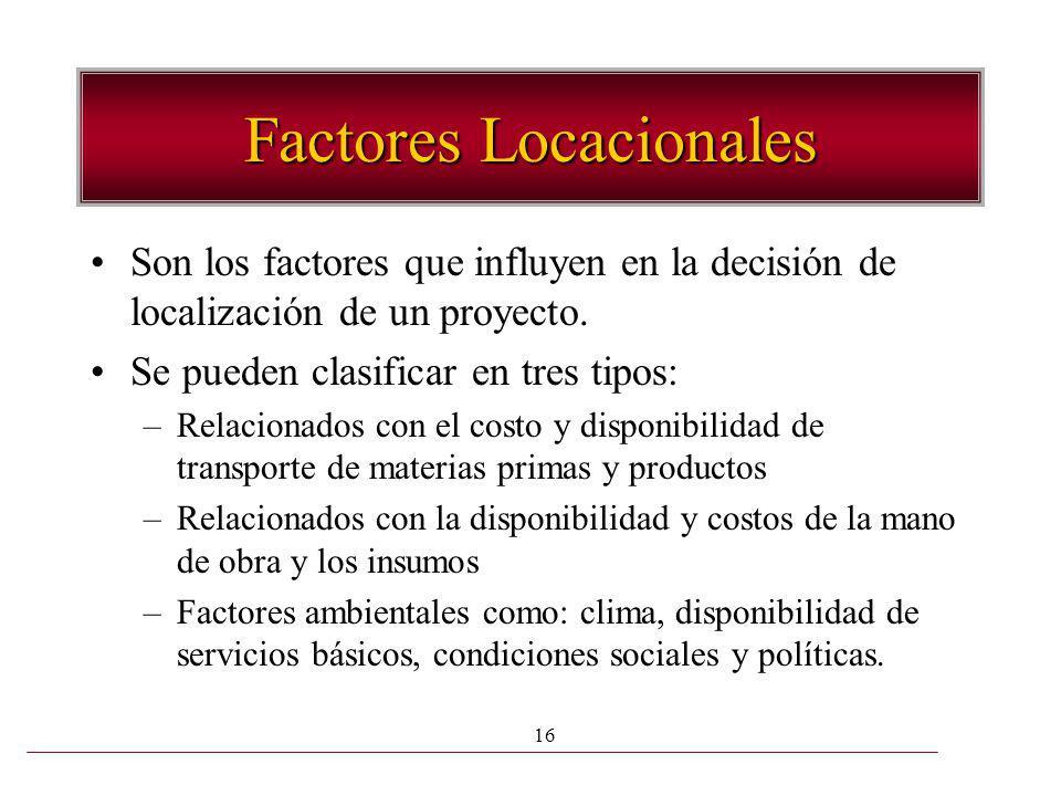 16 Factores Locacionales Son los factores que influyen en la decisión de localización de un proyecto. Se pueden clasificar en tres tipos: –Relacionado