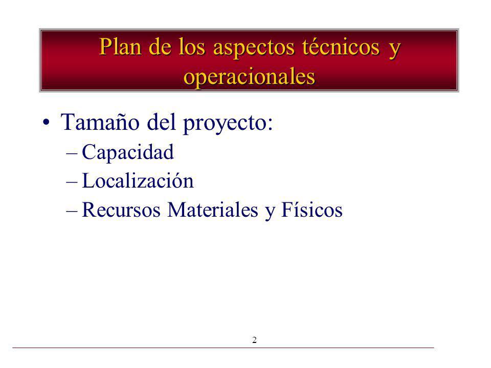 2 Plan de los aspectos técnicos y operacionales Tamaño del proyecto: –Capacidad –Localización –Recursos Materiales y Físicos