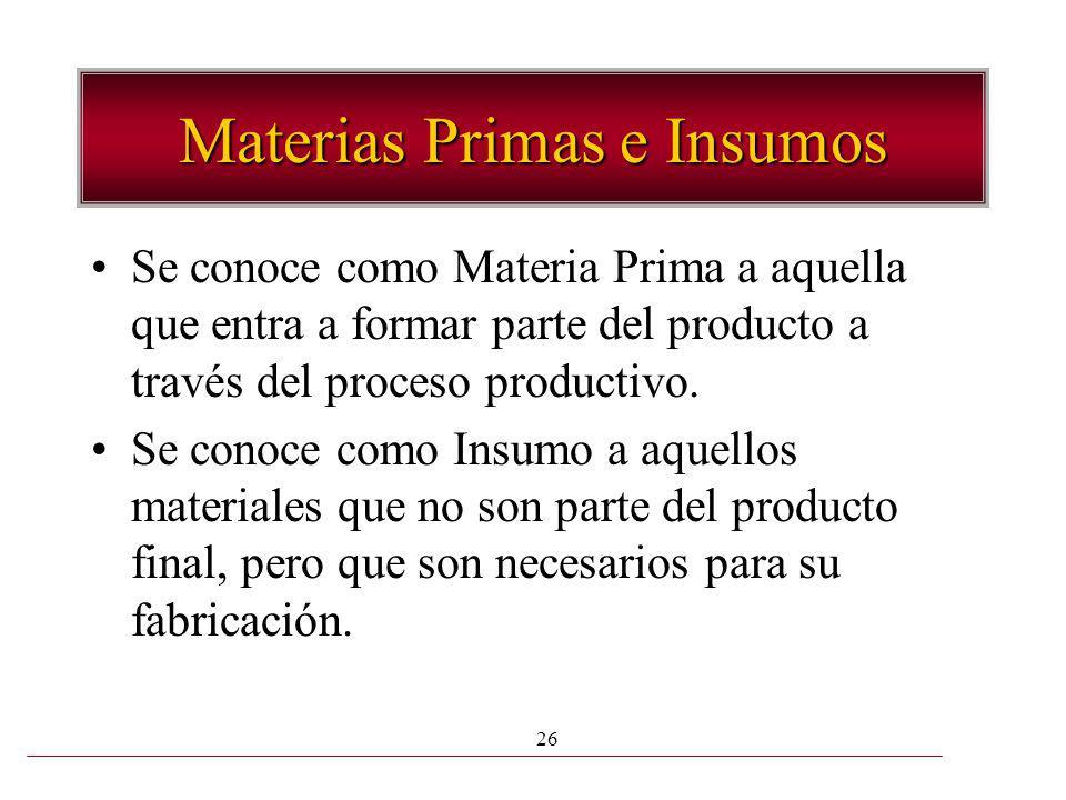 26 Materias Primas e Insumos Se conoce como Materia Prima a aquella que entra a formar parte del producto a través del proceso productivo. Se conoce c