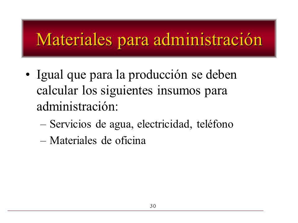 30 Materiales para administración Igual que para la producción se deben calcular los siguientes insumos para administración: –Servicios de agua, elect