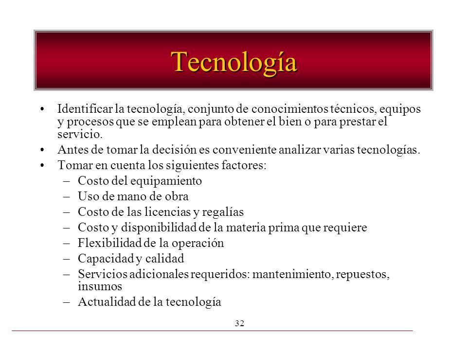 32 Tecnología Identificar la tecnología, conjunto de conocimientos técnicos, equipos y procesos que se emplean para obtener el bien o para prestar el