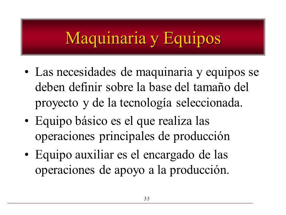 33 Maquinaria y Equipos Las necesidades de maquinaria y equipos se deben definir sobre la base del tamaño del proyecto y de la tecnología seleccionada