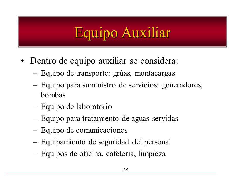35 Equipo Auxiliar Dentro de equipo auxiliar se considera: –Equipo de transporte: grúas, montacargas –Equipo para suministro de servicios: generadores