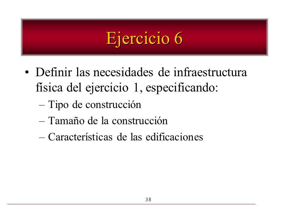 38 Ejercicio 6 Definir las necesidades de infraestructura física del ejercicio 1, especificando: –Tipo de construcción –Tamaño de la construcción –Car