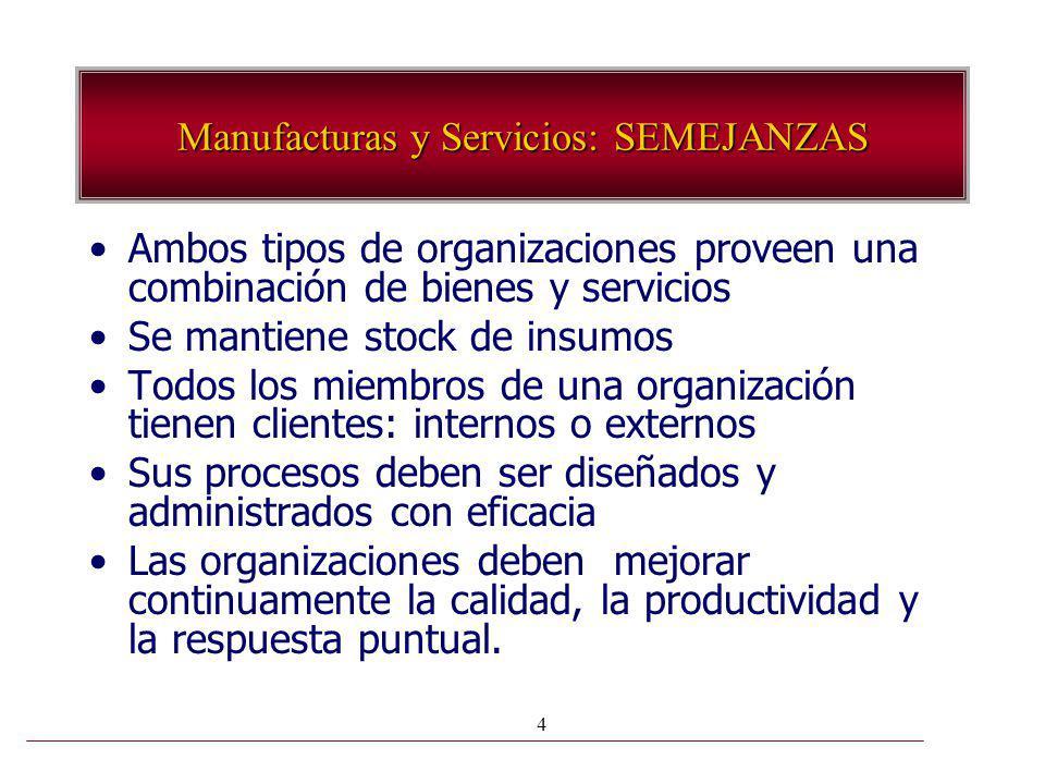 4 Ambos tipos de organizaciones proveen una combinación de bienes y servicios Se mantiene stock de insumos Todos los miembros de una organización tien