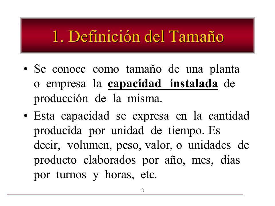 8 1. Definición del Tamaño Se conoce como tamaño de una planta o empresa la capacidad instalada de producción de la misma. Esta capacidad se expresa e