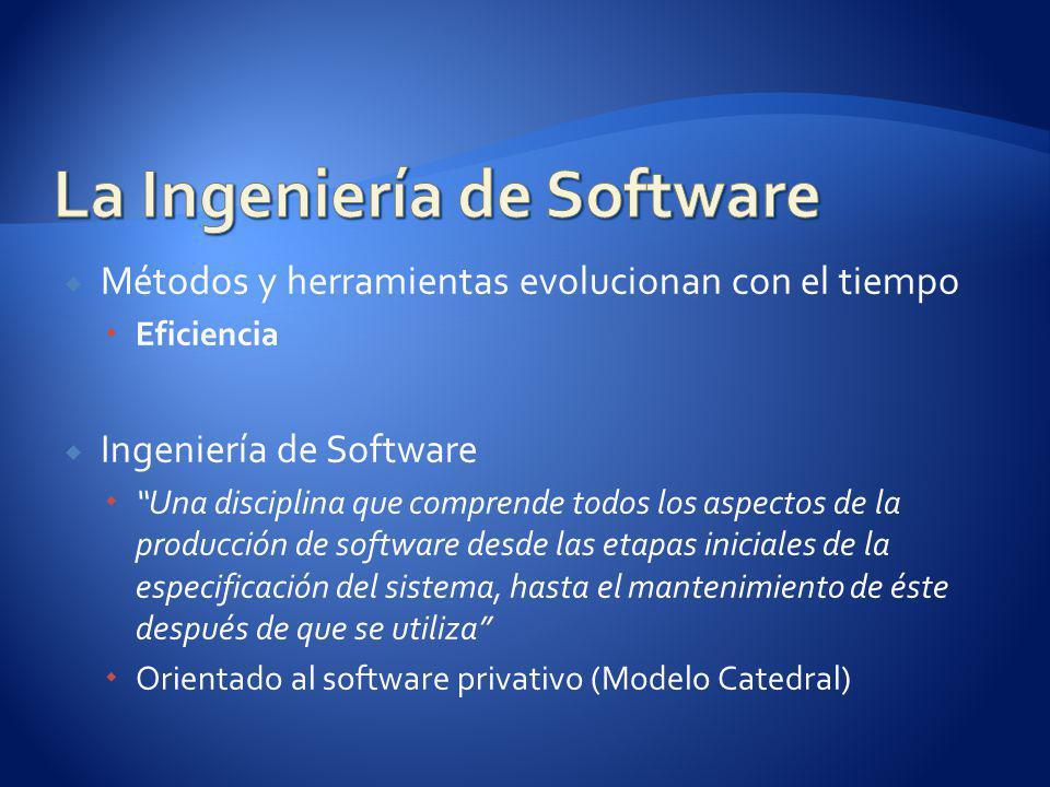 Métodos y herramientas evolucionan con el tiempo Eficiencia Ingeniería de Software Una disciplina que comprende todos los aspectos de la producción de software desde las etapas iniciales de la especificación del sistema, hasta el mantenimiento de éste después de que se utiliza Orientado al software privativo (Modelo Catedral)