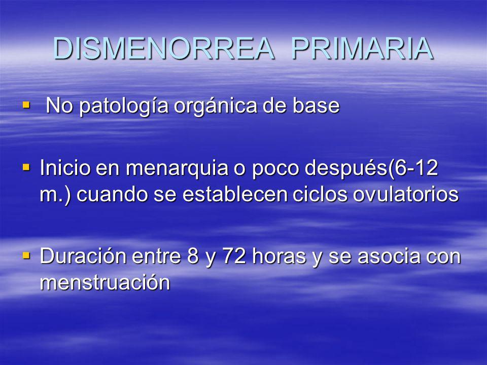 DISMENORREA PRIMARIA No patología orgánica de base No patología orgánica de base Inicio en menarquia o poco después(6-12 m.) cuando se establecen cicl