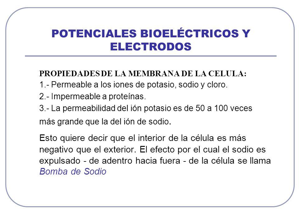 POTENCIALES BIOELÉCTRICOS Y ELECTRODOS PROPIEDADES DE LA MEMBRANA DE LA CELULA: 1.- Permeable a los iones de potasio, sodio y cloro. 2.- Impermeable a