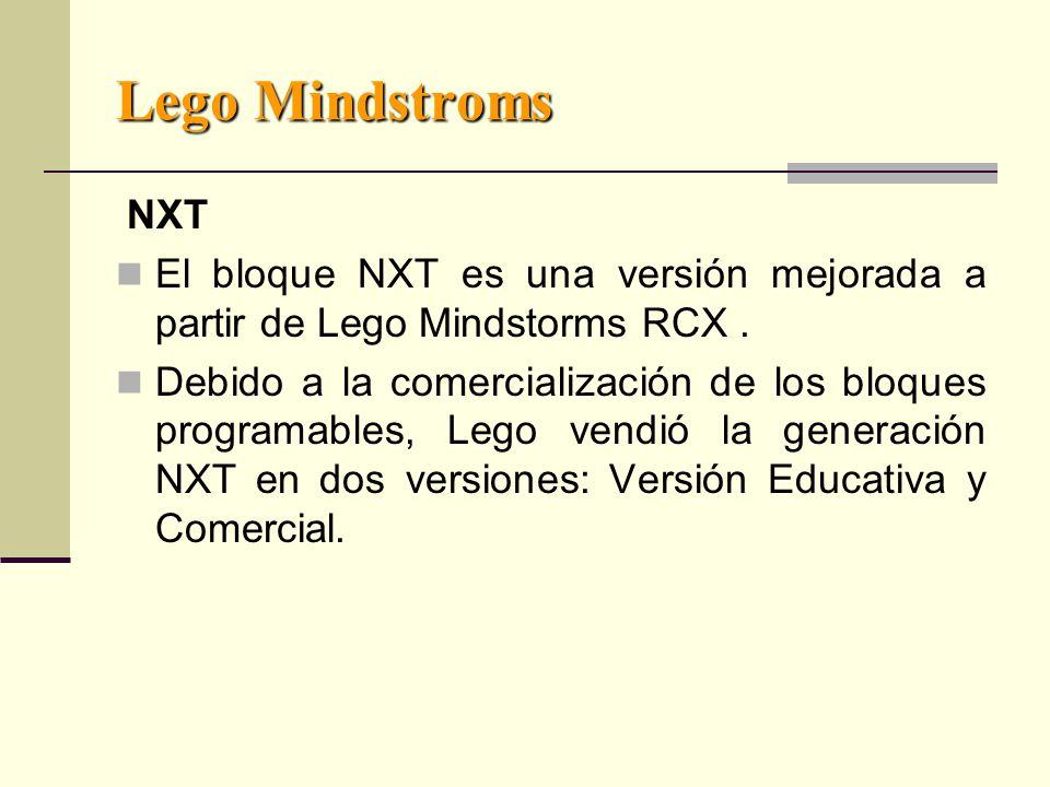 Lego Mindstroms NXT El bloque NXT es una versión mejorada a partir de Lego Mindstorms RCX.