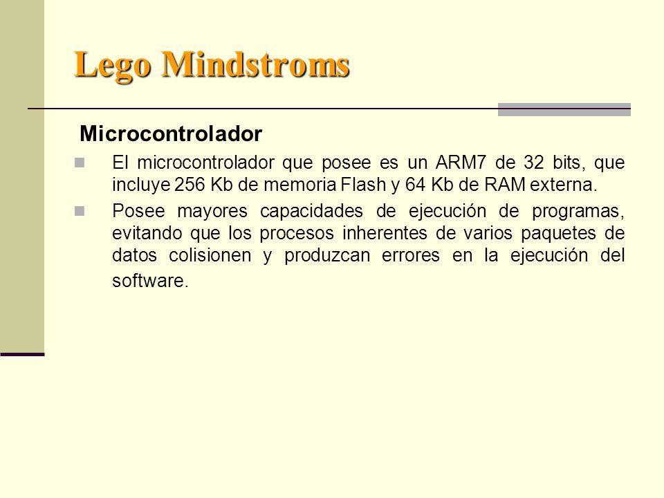 Lego Mindstroms Microcontrolador El microcontrolador que posee es un ARM7 de 32 bits, que incluye 256 Kb de memoria Flash y 64 Kb de RAM externa.