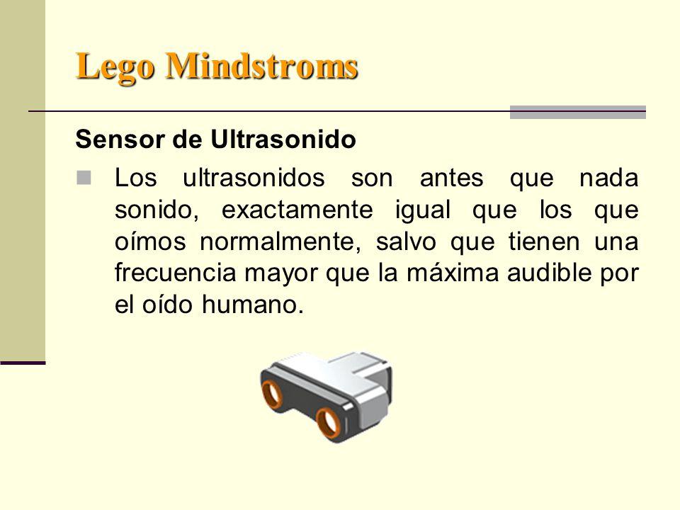 Lego Mindstroms Sensor de Ultrasonido Los ultrasonidos son antes que nada sonido, exactamente igual que los que oímos normalmente, salvo que tienen una frecuencia mayor que la máxima audible por el oído humano.