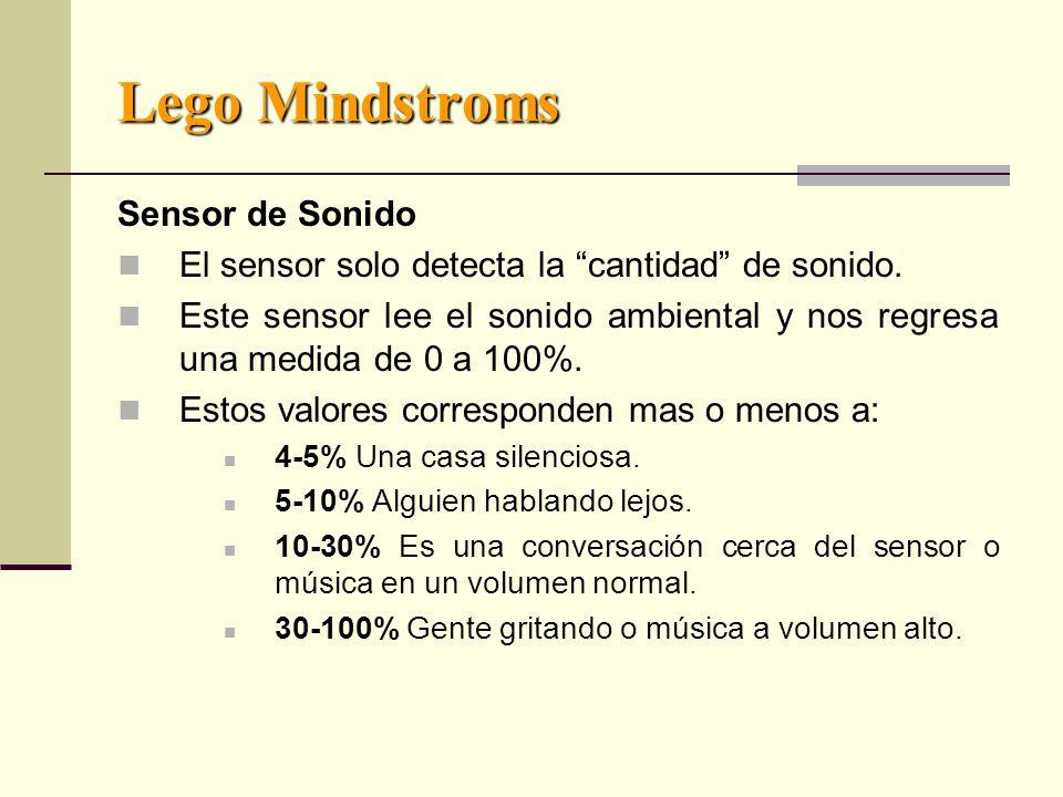 Lego Mindstroms Sensor de Sonido El sensor solo detecta la cantidad de sonido.