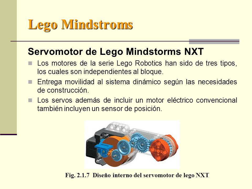 Lego Mindstroms Servomotor de Lego Mindstorms NXT Los motores de la serie Lego Robotics han sido de tres tipos, los cuales son independientes al bloque.