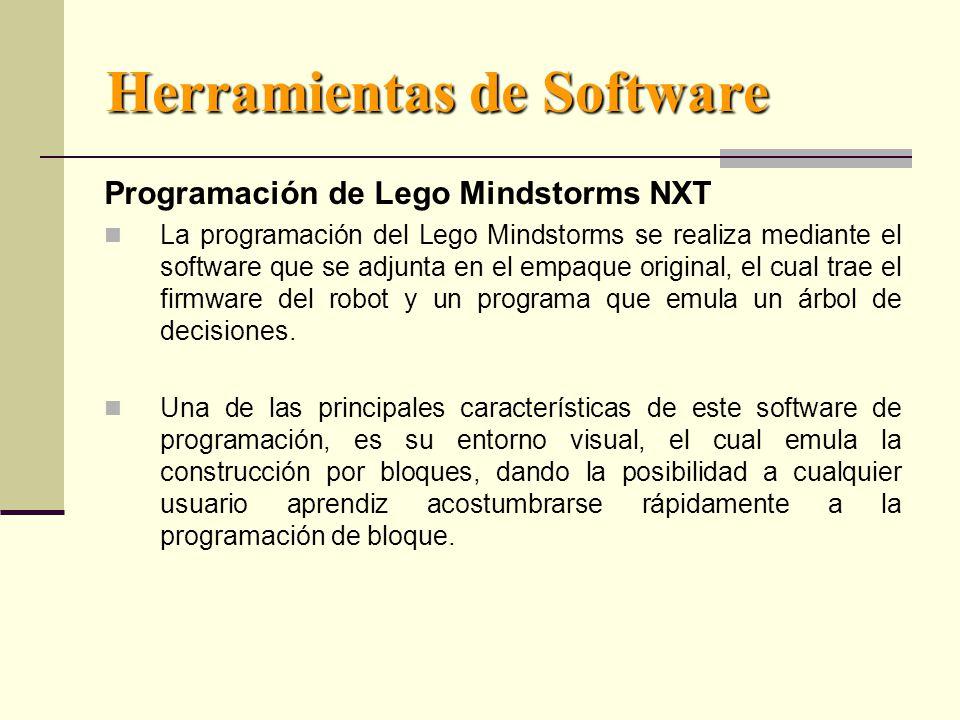 Herramientas de Software Programación de Lego Mindstorms NXT La programación del Lego Mindstorms se realiza mediante el software que se adjunta en el empaque original, el cual trae el firmware del robot y un programa que emula un árbol de decisiones.