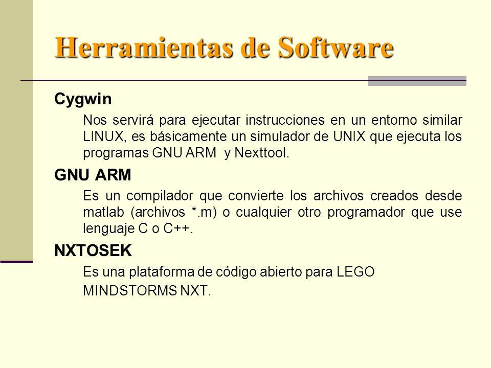 Herramientas de Software Cygwin Nos servirá para ejecutar instrucciones en un entorno similar LINUX, es básicamente un simulador de UNIX que ejecuta los programas GNU ARM y Nexttool.