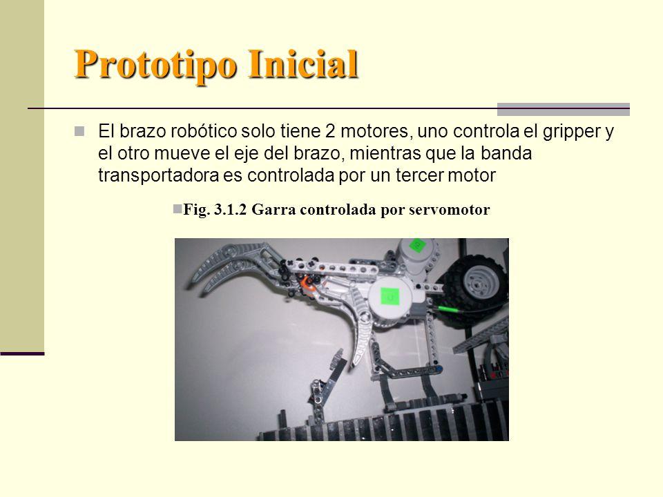 Prototipo Inicial El brazo robótico solo tiene 2 motores, uno controla el gripper y el otro mueve el eje del brazo, mientras que la banda transportadora es controlada por un tercer motor Fig.