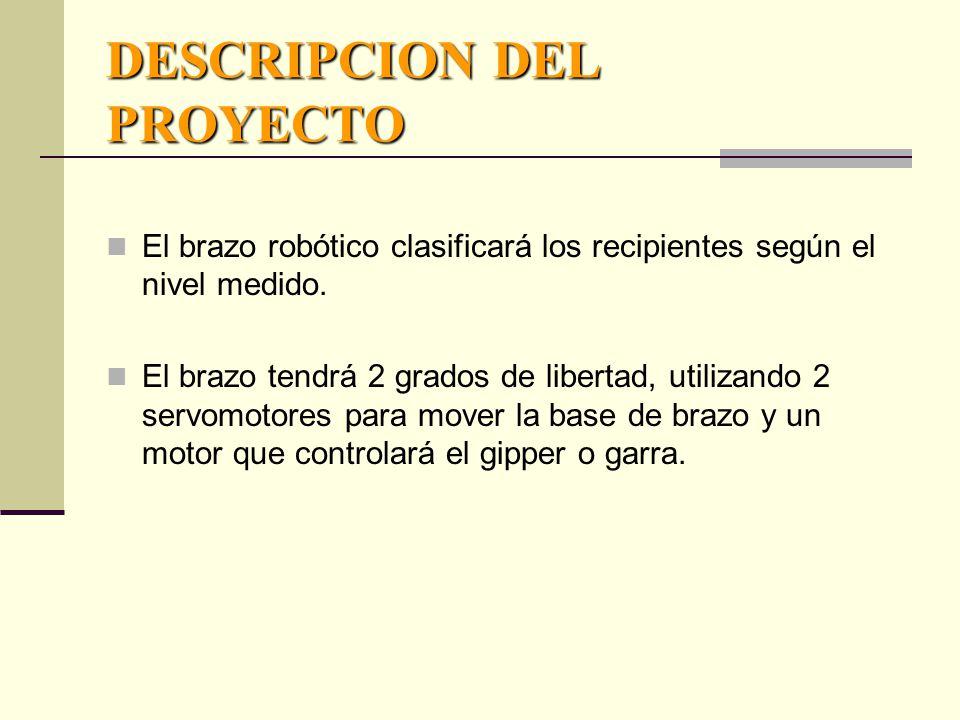 DESCRIPCION DEL PROYECTO El brazo robótico clasificará los recipientes según el nivel medido.
