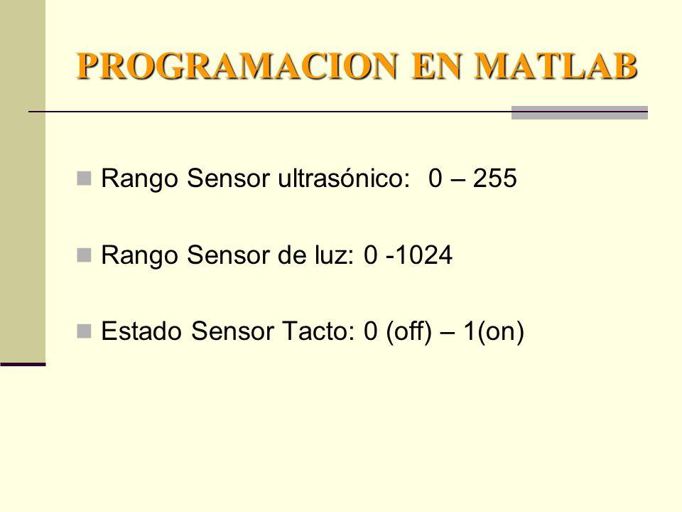 PROGRAMACION EN MATLAB Rango Sensor ultrasónico: 0 – 255 Rango Sensor de luz: 0 -1024 Estado Sensor Tacto: 0 (off) – 1(on)