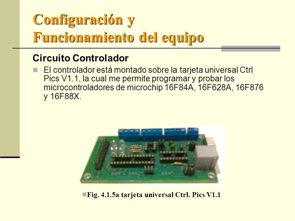 Configuración y Funcionamiento del equipo Circuito Controlador El controlador está montado sobre la tarjeta universal Ctrl Pics V1.1, la cual me permite programar y probar los microcontroladores de microchip 16F84A, 16F628A, 16F876 y 16F88X.