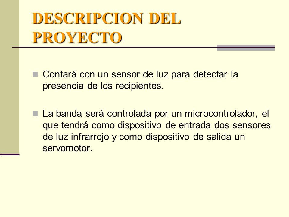 DESCRIPCION DEL PROYECTO Contará con un sensor de luz para detectar la presencia de los recipientes.