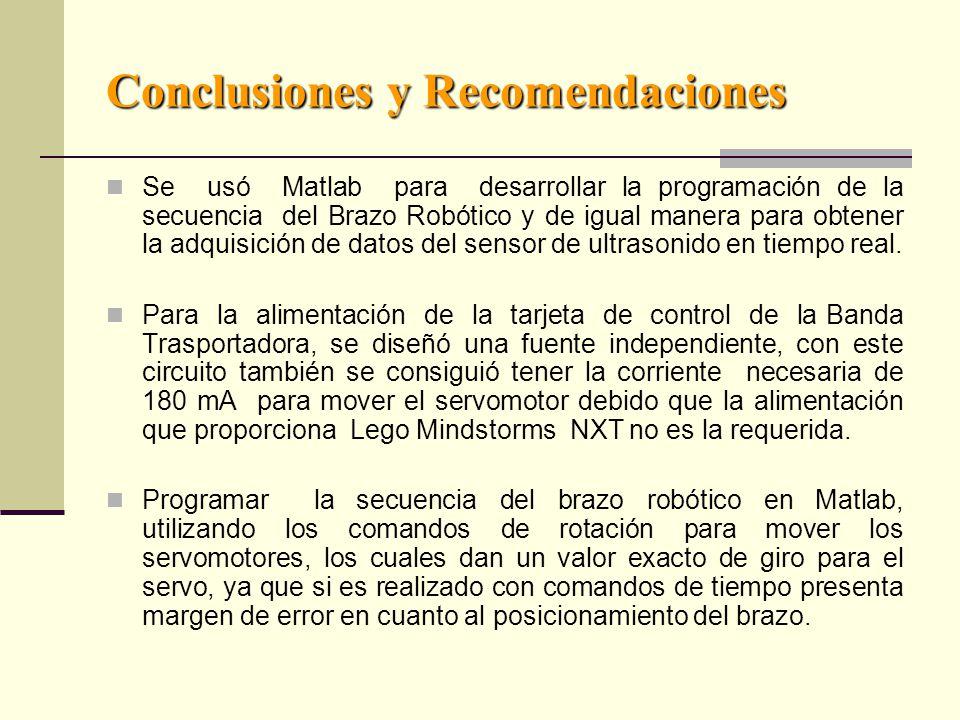 Conclusiones y Recomendaciones Se usó Matlab para desarrollar la programación de la secuencia del Brazo Robótico y de igual manera para obtener la adquisición de datos del sensor de ultrasonido en tiempo real.