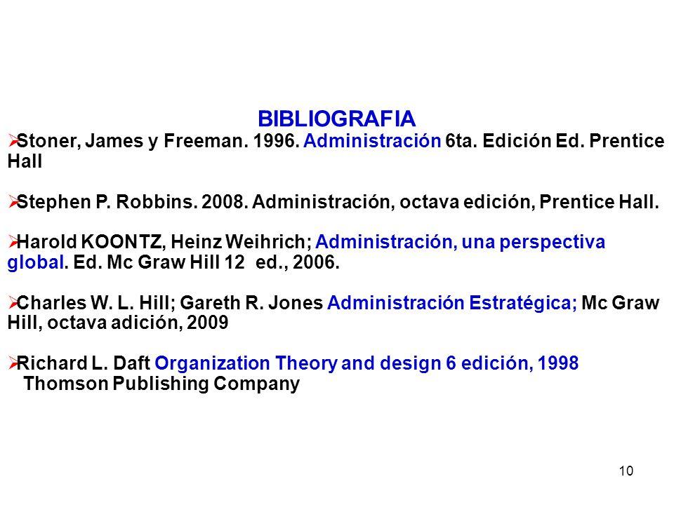 10 BIBLIOGRAFIA Stoner, James y Freeman. 1996. Administración 6ta. Edición Ed. Prentice Hall Stephen P. Robbins. 2008. Administración, octava edición,