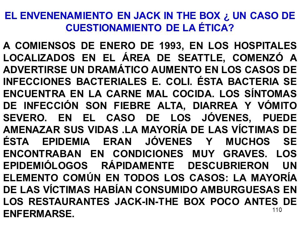 110 EL ENVENENAMIENTO EN JACK IN THE BOX ¿ UN CASO DE CUESTIONAMIENTO DE LA ÉTICA? A COMIENSOS DE ENERO DE 1993, EN LOS HOSPITALES LOCALIZADOS EN EL Á