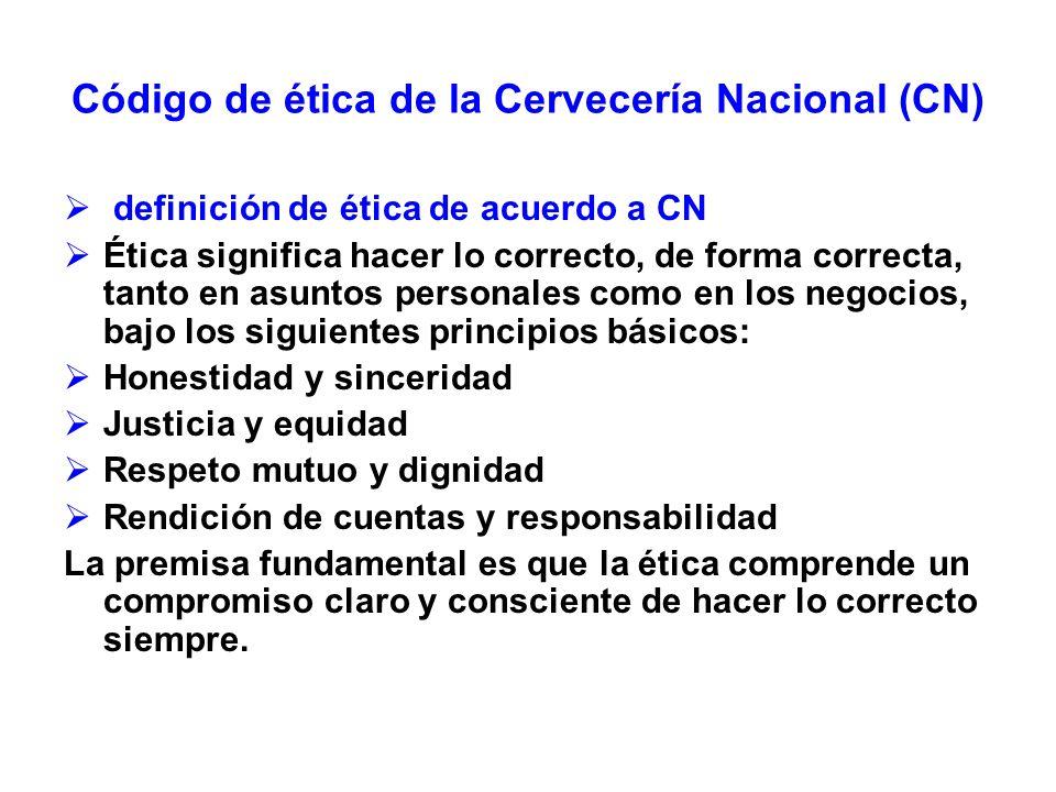 Código de ética de la Cervecería Nacional (CN) definición de ética de acuerdo a CN Ética significa hacer lo correcto, de forma correcta, tanto en asun