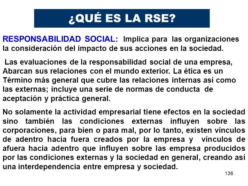 136 RESPONSABILIDAD SOCIAL: Implica para las organizaciones la consideración del impacto de sus acciones en la sociedad. Las evaluaciones de la respon