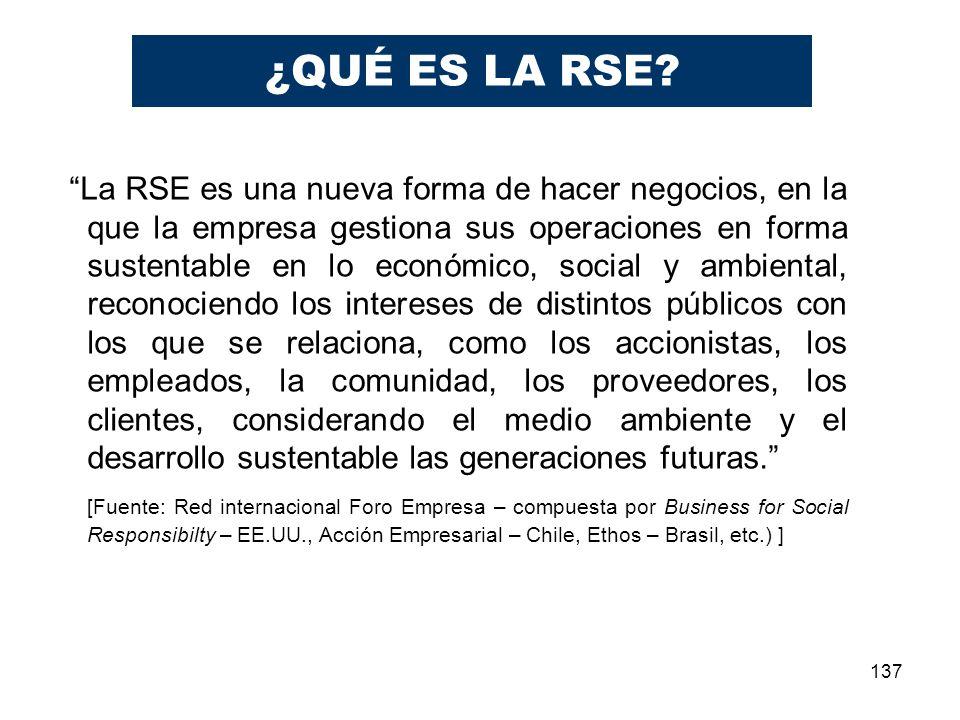137 La RSE es una nueva forma de hacer negocios, en la que la empresa gestiona sus operaciones en forma sustentable en lo económico, social y ambienta
