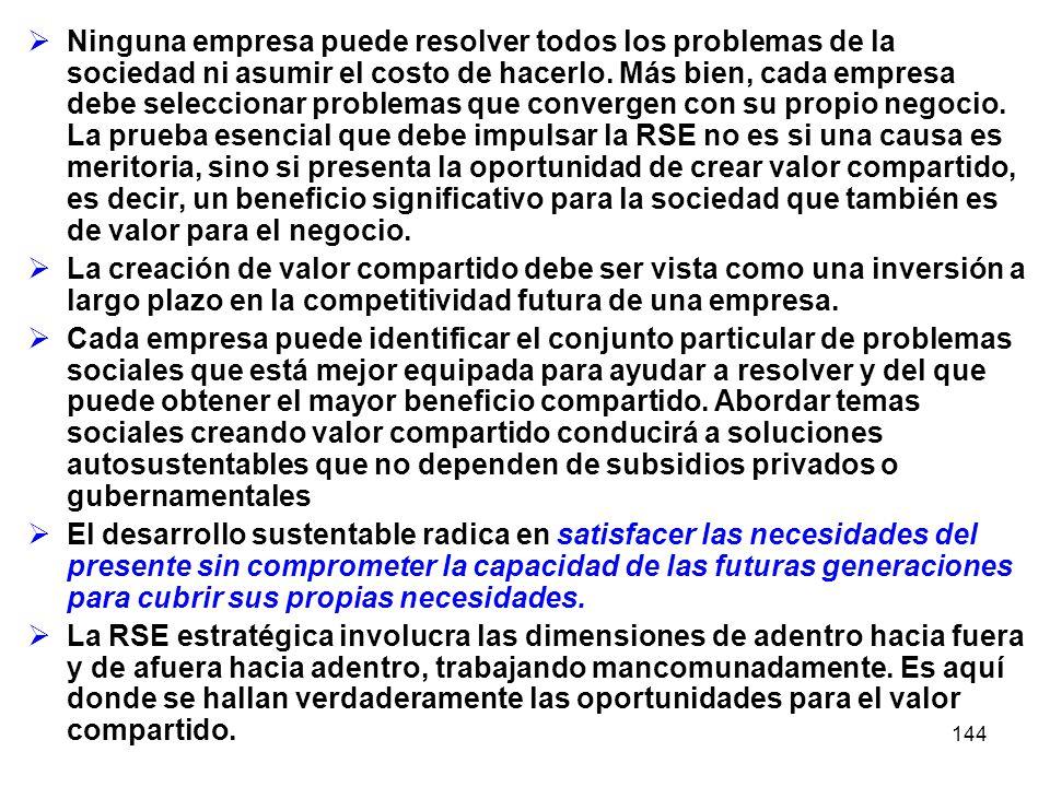 144 Ninguna empresa puede resolver todos los problemas de la sociedad ni asumir el costo de hacerlo. Más bien, cada empresa debe seleccionar problemas