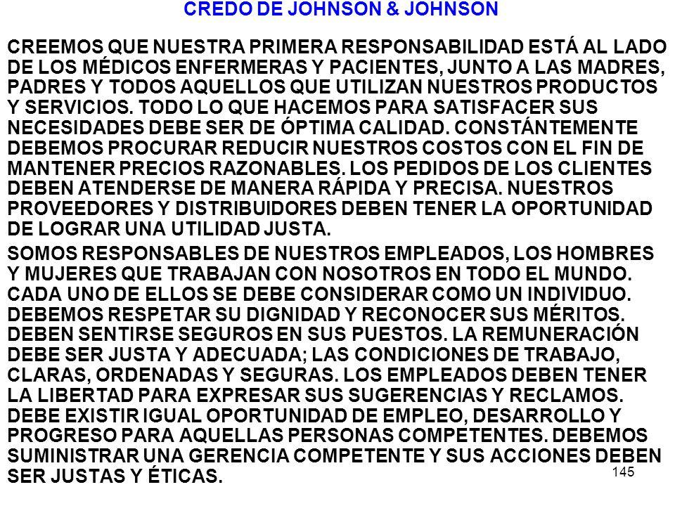 145 CREDO DE JOHNSON & JOHNSON CREEMOS QUE NUESTRA PRIMERA RESPONSABILIDAD ESTÁ AL LADO DE LOS MÉDICOS ENFERMERAS Y PACIENTES, JUNTO A LAS MADRES, PAD